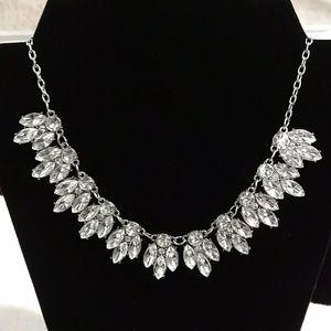 Teardrop crystal silver choker